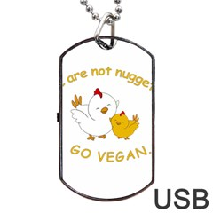 Go Vegan   Cute Chick  Dog Tag Usb Flash (two Sides) by Valentinaart
