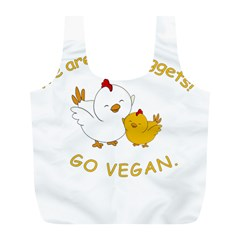 Go Vegan   Cute Chick  Full Print Recycle Bags (l)  by Valentinaart