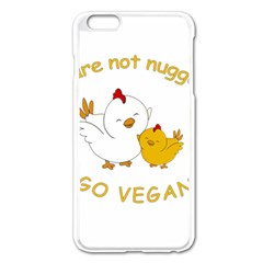Go Vegan   Cute Chick  Apple Iphone 6 Plus/6s Plus Enamel White Case by Valentinaart