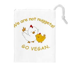 Go Vegan   Cute Chick  Drawstring Pouches (extra Large) by Valentinaart