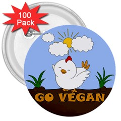 Go Vegan   Cute Chick  3  Buttons (100 Pack)  by Valentinaart