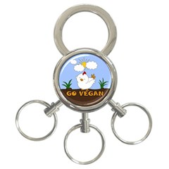 Go Vegan   Cute Chick  3 Ring Key Chains by Valentinaart