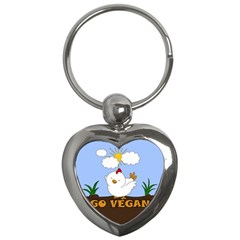 Go Vegan   Cute Chick  Key Chains (heart)  by Valentinaart
