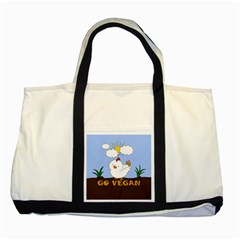 Go Vegan   Cute Chick  Two Tone Tote Bag by Valentinaart