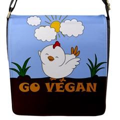Go Vegan   Cute Chick  Flap Messenger Bag (s) by Valentinaart