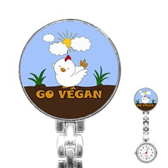 Go Vegan   Cute Chick  Stainless Steel Nurses Watch by Valentinaart