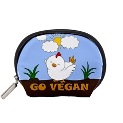 Go Vegan   Cute Chick  Accessory Pouches (small)  by Valentinaart