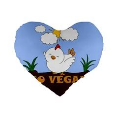 Go Vegan   Cute Chick  Standard 16  Premium Flano Heart Shape Cushions by Valentinaart