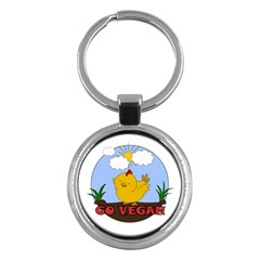 Go Vegan   Cute Chick  Key Chains (round)  by Valentinaart