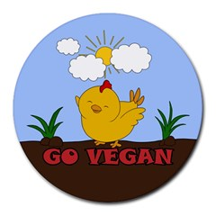 Go Vegan   Cute Chick  Round Mousepads by Valentinaart