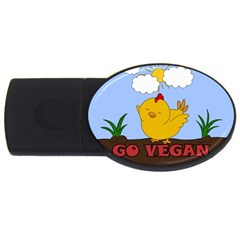 Go Vegan   Cute Chick  Usb Flash Drive Oval (4 Gb) by Valentinaart