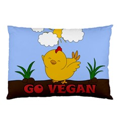 Go Vegan   Cute Chick  Pillow Case (two Sides) by Valentinaart