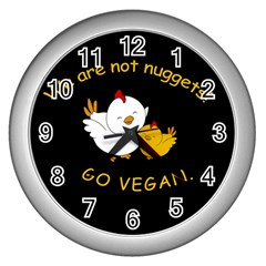 Go Vegan   Cute Chick  Wall Clocks (silver)  by Valentinaart