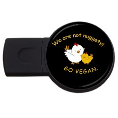 Go Vegan   Cute Chick  Usb Flash Drive Round (4 Gb) by Valentinaart