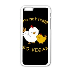 Go Vegan   Cute Chick  Apple Iphone 6/6s White Enamel Case by Valentinaart