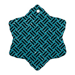 Woven2 Black Marble & Turquoise Glitter Snowflake Ornament (two Sides) by trendistuff