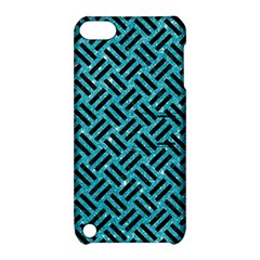 Woven2 Black Marble & Turquoise Glitter Apple Ipod Touch 5 Hardshell Case With Stand by trendistuff