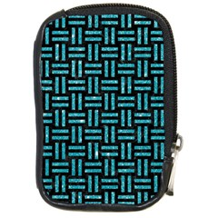 Woven1 Black Marble & Turquoise Glitter (r) Compact Camera Cases by trendistuff