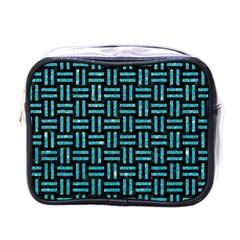 Woven1 Black Marble & Turquoise Glitter (r) Mini Toiletries Bags by trendistuff
