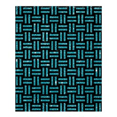 Woven1 Black Marble & Turquoise Glitter (r) Shower Curtain 60  X 72  (medium)  by trendistuff