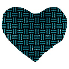 Woven1 Black Marble & Turquoise Glitter (r) Large 19  Premium Heart Shape Cushions by trendistuff