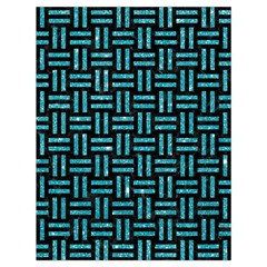 Woven1 Black Marble & Turquoise Glitter (r) Drawstring Bag (large) by trendistuff