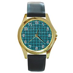 Woven1 Black Marble & Turquoise Glitter Round Gold Metal Watch by trendistuff