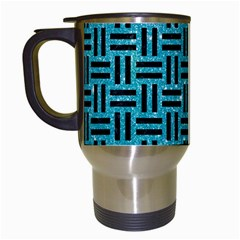 Woven1 Black Marble & Turquoise Glitter Travel Mugs (white) by trendistuff