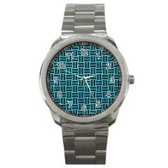 Woven1 Black Marble & Turquoise Glitter Sport Metal Watch by trendistuff