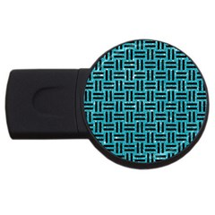 Woven1 Black Marble & Turquoise Glitter Usb Flash Drive Round (4 Gb) by trendistuff