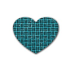 Woven1 Black Marble & Turquoise Glitter Heart Coaster (4 Pack)  by trendistuff