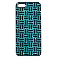 Woven1 Black Marble & Turquoise Glitter Apple Iphone 5 Seamless Case (black) by trendistuff