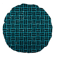 Woven1 Black Marble & Turquoise Glitter Large 18  Premium Flano Round Cushions by trendistuff