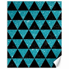 Triangle3 Black Marble & Turquoise Glitter Canvas 16  X 20   by trendistuff
