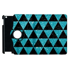 Triangle3 Black Marble & Turquoise Glitter Apple Ipad 2 Flip 360 Case by trendistuff