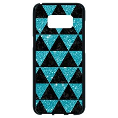 Triangle3 Black Marble & Turquoise Glitter Samsung Galaxy S8 Black Seamless Case by trendistuff