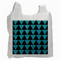Triangle2 Black Marble & Turquoise Glittertriangle2 Black Marble & Turquoise Glitter Recycle Bag (one Side) by trendistuff
