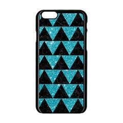 Triangle2 Black Marble & Turquoise Glittertriangle2 Black Marble & Turquoise Glitter Apple Iphone 6/6s Black Enamel Case by trendistuff