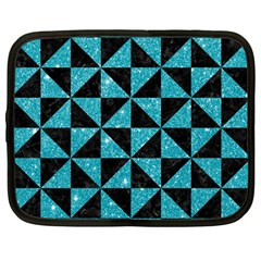Triangle1 Black Marble & Turquoise Glitter Netbook Case (large) by trendistuff
