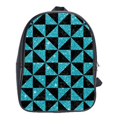 Triangle1 Black Marble & Turquoise Glitter School Bag (large) by trendistuff