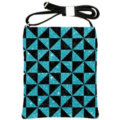 Triangle1 Black Marble & Turquoise Glitter Shoulder Sling Bags by trendistuff
