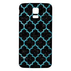 Tile1 Black Marble & Turquoise Glitter (r) Samsung Galaxy S5 Back Case (white) by trendistuff