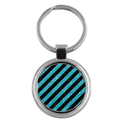 Stripes3 Black Marble & Turquoise Glitter (r) Key Chains (round)  by trendistuff