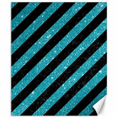Stripes3 Black Marble & Turquoise Glitter (r) Canvas 8  X 10  by trendistuff