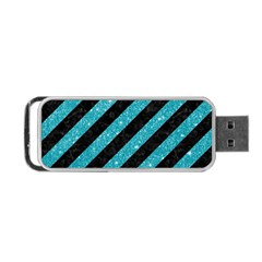 Stripes3 Black Marble & Turquoise Glitter (r) Portable Usb Flash (two Sides) by trendistuff