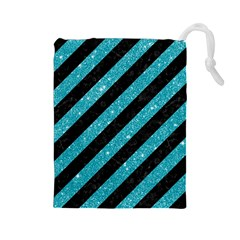 Stripes3 Black Marble & Turquoise Glitter (r) Drawstring Pouches (large)  by trendistuff