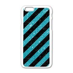 Stripes3 Black Marble & Turquoise Glitter (r) Apple Iphone 6/6s White Enamel Case by trendistuff