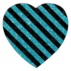 Stripes3 Black Marble & Turquoise Glitter Jigsaw Puzzle (heart) by trendistuff