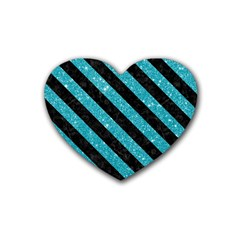 Stripes3 Black Marble & Turquoise Glitter Heart Coaster (4 Pack)