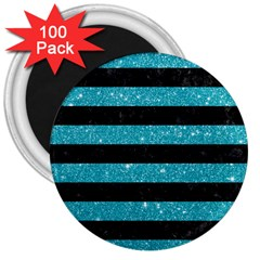 Stripes2black Marble & Turquoise Glitter 3  Magnets (100 Pack) by trendistuff